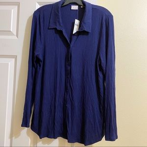 NWT Postcard by Anthro Ribbed LS Button Down Sz XL